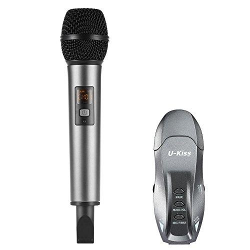UHF 2 Kanal Funkmikrofon USB Aufladung, U-KISS Original K18 Bluetooth Wireless Mikrofon Mit Mini Emfänger Handmikrofon Für Familienunterhaltung, Kareoke KTV, Bar, Party, Konferenz, Schule