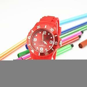 Silicone Watch - Montre en silicone coloré de type Ice [ Cadran 38 mm ] - Rouge