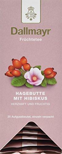 Dallmayr Tee Aufgussbeutel - Hagebutte/Hibiskus Tee, 1er Pack (1 x 75 g) Tee-hibiscus Hagebutte