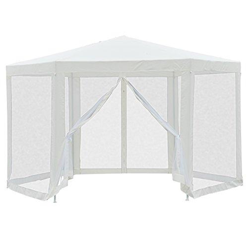 Outsunny Pavillon Tonnelle Tente de Jardin Hexagone 6 Gazes Latérales Tube de Fer Hauteur 2.5m Beige