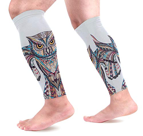 Patterned Owl Calf Compression Sleeves Shin Splint Support Leg Protectors Calf Pain Relief for Running, Cycling, Travel, Sports for Men Women (1 Pair) Multi Color Patterned