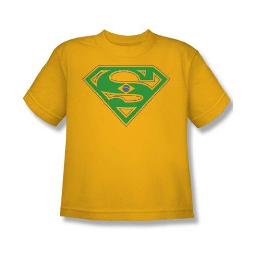 Superman-T-shirt gioventù Shield Brasile in oro oro