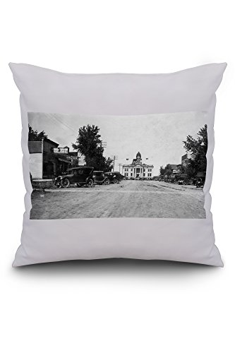 onida-south-dakota-street-view-of-city-hall-20x20-spun-polyester-pillow-case-custom-border