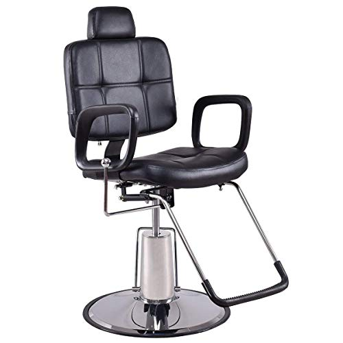 Costway poltrona da barbiere sgabello da parrucchiere con poggiatesta, girevole a 360°e reclinabile