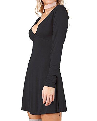 Slim Sexy Robe À Manches Longues En Col V Avec Pour Femme Noir
