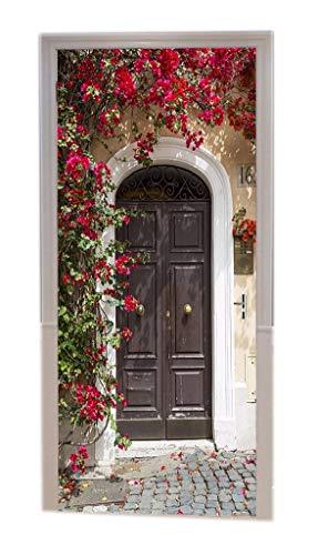 A.Monamour Türtapeten Selbstklebend 3D Altes Italienisches Haus Retro-Holztür Eingang Umgeben Von Blumen Mittelalterliche Architektur Türtapete Türposter Tapete 77x200cm