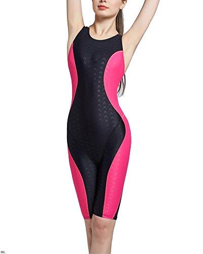 ZhuiKun Sportbadeanzug Damen mit Bein Einteiler Sport Bademode Push up Schwimmanzug Badeanzug Training Schwarz Rose XXL