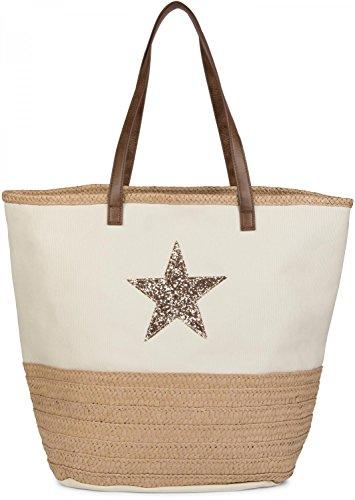 styleBREAKER Strandtasche mit Pailetten Stern und Bast