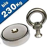 Bergemagnet Neodym Suchmagnet mit Öse - Neodym (NdFeB) - Durchmesser: Ø 32-90mm - Haftkraft bis zu 230 kg - Extra Starke Magnete Bergungsmagnete - Perfekt zum Magnetfischen Magnetangeln, Größe:Ø 90mm | >=230kg