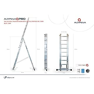 altipesa – Stairs Alum. 3 Sections 09 Rungs.