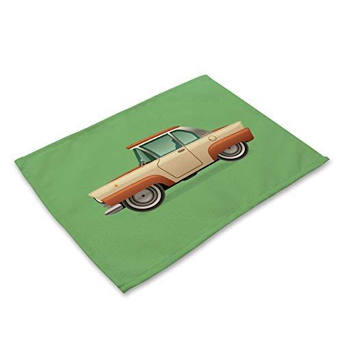 ZCHPDD Grüner Hintergrund Vintage Auto Baumwolle Westlichen Mahlzeit Matte E 42 * 32 cm * 8 Stücke - Aqua Luminator