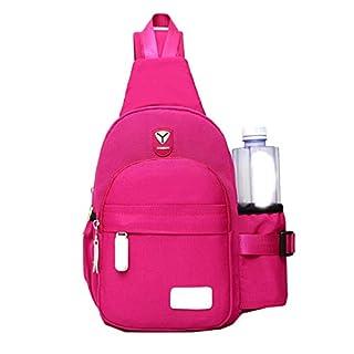 BESTOYARD Männer Frauen Nylon Crossbody Schulter Brust Zyklus Sling Bag Daily Travel Rucksack (Rose Red)