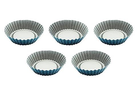 Eco Haus Living Premium Tortelettförmchen 5 Stück - 10 cm Mini Körbchen Antihaftbeschichtung - Delicious Quicheform, Obstkuchenform oder Kuchenform Rund TEFLON Tarte Form zum Backen