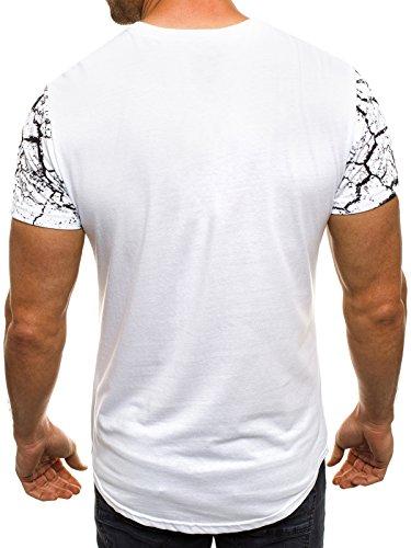 OZONEE Herren T-Shirt mit Motiv Kurzarm Rundhals Figurbetont J.STYLE SS012 Weiß_JS-SS105