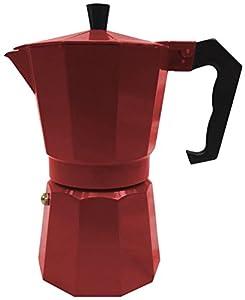 Innova Brands IVKEMR1 Italian Espresso Stove Top Coffee Maker Continental Moka Percolator Pot, Red-P