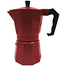 Innova Italian Espresso Stove Top Coffee Maker Continental Moka Percolator Pot, 6 Cup, Red