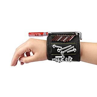 Magnetic Wristband 10 Magnets Holding Screws Nails Drill Bits and Small Tools Construction Carpentry Auto Repair Plumbing Sewing DIY Projects for Men Him Dad DIY Handyman Electrician
