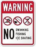 NDTS - Cartello Decorativo in Metallo, 20,3 x 30,5 cm, Cartello Stradale per Nuotare Pannolini necessari per WC Non addestrati, 2561, 8X12 Inches