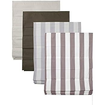 raffrollo mit polyesterstoff farbe hell grau wei gestreift breite 60 bis 120 cm l nge. Black Bedroom Furniture Sets. Home Design Ideas