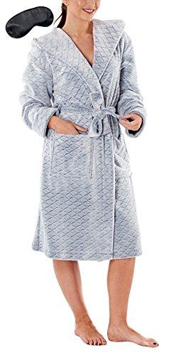i-Smalls Damen Fleece Robe Druck Art Skala Kapuze mit Schwarz Augenmaske (36-38) Blau - Frauen Fleece-roben Für Lange