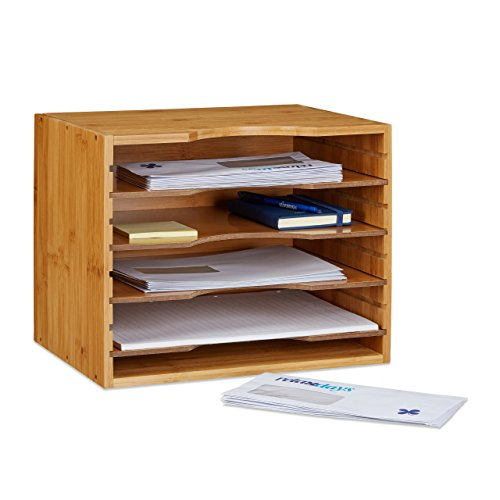 Relaxdays Organizer per scrivania/da scrivania in legno di bambuŽ, organizer per documenti in legno di bambuŽcon le seguenti misure HBT: ca. 26,5 x 33,5 x 24,5 cm, organizer in legno con 4 divisori