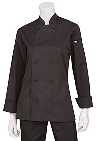 Chef Works LWLJ-BLK-S Light Weight Lady Chef Jacket, Black, Small by Chef Works