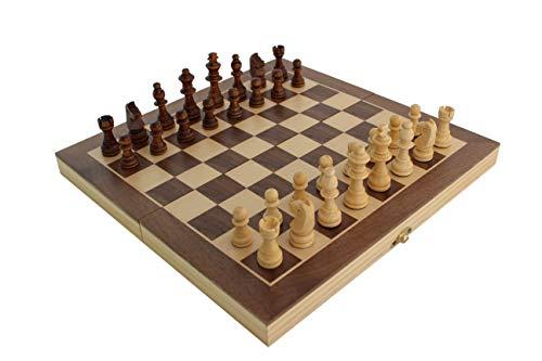 ecope Schachspiel | magnetisches Schachbrett | Spielkassette und Figuren aus Holz