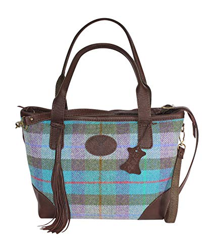 Barrhead Leather Wild Scottish Deerskin Designer Leder Türkis Tartan Check Harris Tweed große Tote Tassle Bag