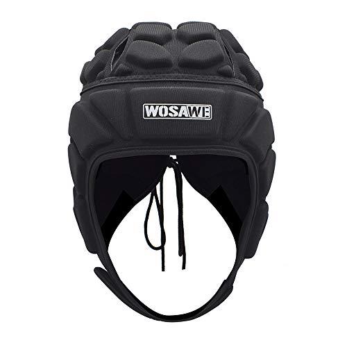 WOSAWE Torwarthelm Herren Rugby Kopfschutz Eva Antikollisionshelm Unterstützung Fußball Rugby Kopfschutz Hut (Klassisch Style M)