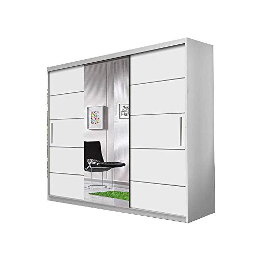 Schwebetürenschrank Alba 250 cm, Schiebetürenschrank mit Spiegel, Kleiderschrank mit Kleiderstange und Einlegeboden, Schlafzimmerschrank, Schiebetüren, Modern Design (Weiß / Weiß + Spiegel) -