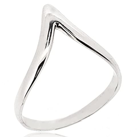 Sovats Chevron Thumb Ring For Women 925 Sterling Silver Rhodium Plated - Simple, Stylish &Trendy Nickel Free Ring, Size