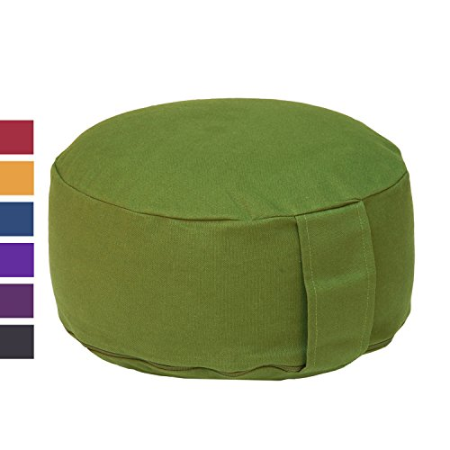 Meditationskissen RONDO BASIC (Dinkel), mit abnehmbarem Bezug (olive-grün), bequemes, klassisches Sitzkissen für die Meditation im Yoga, für Zen Meditation und andere Sitzmeditationen, Yogakissen