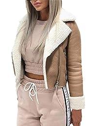 Femmes Dames Manteau Court Zipper Outwear Mode Revers Faux Agneau en Laine  Moto Manteau De Moto Vestes en Cuir Daim Boucle Cool Veste… 7d73fe05a10