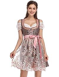 KOJOOIN Trachten Damen Dirndl Set - Midi Trachtenkleid Kurzarm Dirndlbluse für Oktoberfest - DREI Teilig: Kleid, Bluse, Schürze(Verpackung MEHRWEG)
