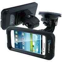Armor-X wasserdichtes & stoßfestes Gehäuse mit Fahrradhalterung und Saugnapf (2 Halterungen inkludiert) für Fahrrad, Bike, Boot und mehr für iPhone 5 und Samsung Galaxy S 3, mit Kopfhöreranschluss (Farbe: schwarz)