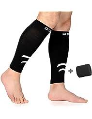 mollets jambes Bas de compression, tibia de veau manches bandage de mollet Sleeve pour chemin de/Cyclisme/Fitness et jambes Krampf Compression Soutien–Hommes/Femmes (Noir, 1paire)