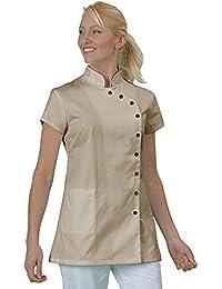 Casaca de trabajo para estética, tipo blusa, tela con acabado inarrugable, fabricación francesa