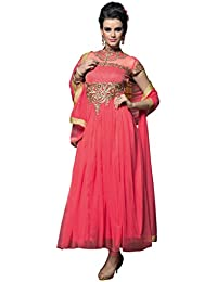Shoppingover Women's Georgette Dress Material (12001VD_Free Size_Red)