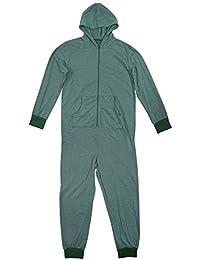 hommes pêche fermeture éclair pull à capuche pyjama tout en un combinaison vert à capuche barboteuse pyjama Tailles M L XL