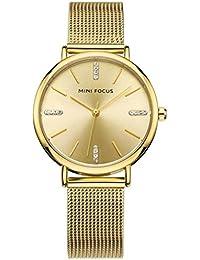 MINI FOCUS Moda Mujer Relojes Señoras Correa De Acero De Plata De Oro Cuarzo Reloj Reloj Femenino MF0036L, 01 gold diamond…