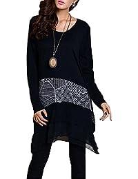 ELLAZHU Femme Stylish Epissure Irrégulier Hem Manches Longues Robe DY09