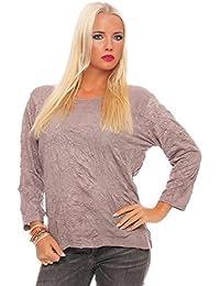 ZARMEXX Mujer Camiseta Básica Acabado Crash Arruga Camisa de algodón Top Blusa Negocios Informal