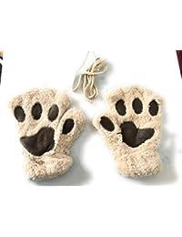Mitones Katomi para otoño e invierno con diseño en forma de garra de oso y de gato, gruesos y de abrigo