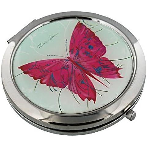 Sophia-Specchietto compatto 7 cm, placcato argento con farfalla, colore: rosa