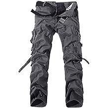 Panegy - Nuevo Pantalones Cargo para Hombre con Multibolsillos con Cinturón para Trabajo Viaje Deporte - 5 Colores 7 Tallas a Elegir