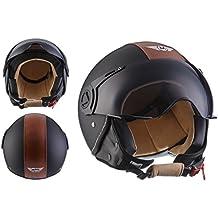 MOTO H44 Vintage Black · Helmet Chopper Vespa Piloto Urbano Moto motocicleta Vintage Cruiser Bobber Urban Retro Biker Casco Demi-Jet Scooter Mofa · ECE certificado · incluyendo parasol · incluyendo bolsa de casco · Negro · L (59-60cm)