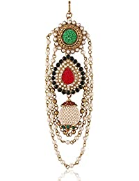 I Jewels Traditional Gold Plated Elegantly Handcrafted Pearl Hanging Hair Pin for Women T1017RG (Red & Green)