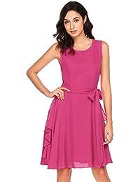 Zeela Damen Elegantes Chiffon Kleid Asymmetrisches Festliches  Brautjungfernkleid Abendkleid Ballkleid mit… 5010278441