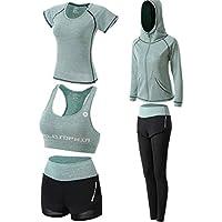 Cosstars Mujer 5 Piezas Ropa Deportiva Elástica Medias Yoga Jogging Chándales (Chaquetas Camisetas Sostén Pantalones Cortos)