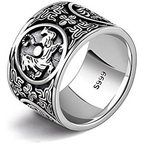 Ángel de Jade de la vendimia de los hombres de plata vieja banda anillo